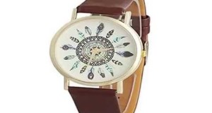 AmjimshopTMWomen-Feather-Dial-Leather-Quartz-Wrist-WatchesBrown-Top