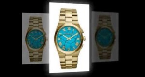 Michael-Kors-MK5894-Ladies-Torquoise-and-Gold-Bracelet-Watch