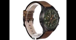 Timex-Mens-T2P381-Stainless-Steel-Watch-with-Olive-Leather-Band-Overview