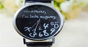U-beauty-Unisex-Women-Ladies-Girl-Whatever-im-late-anyway-Letter-Leather-Strap-Watches-Deal