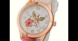 Women-Silicone-Printed-Flower-Causal-Quartz-Wrist-Watches-Pink